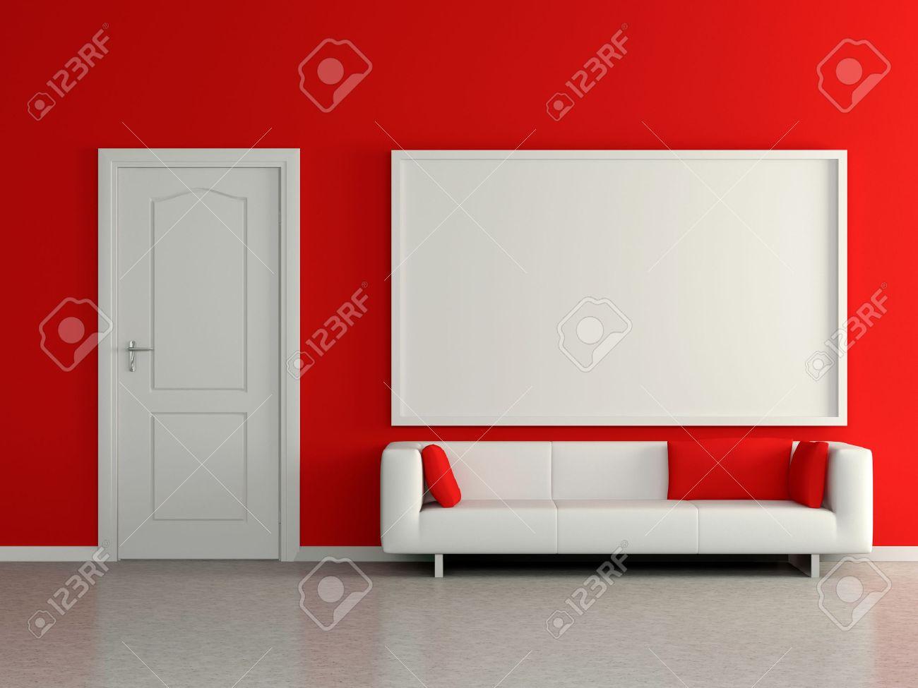 Intérieur De La Maison Moderne Avec Canapé Près Du Mur Rouge Et La Peinture 3d
