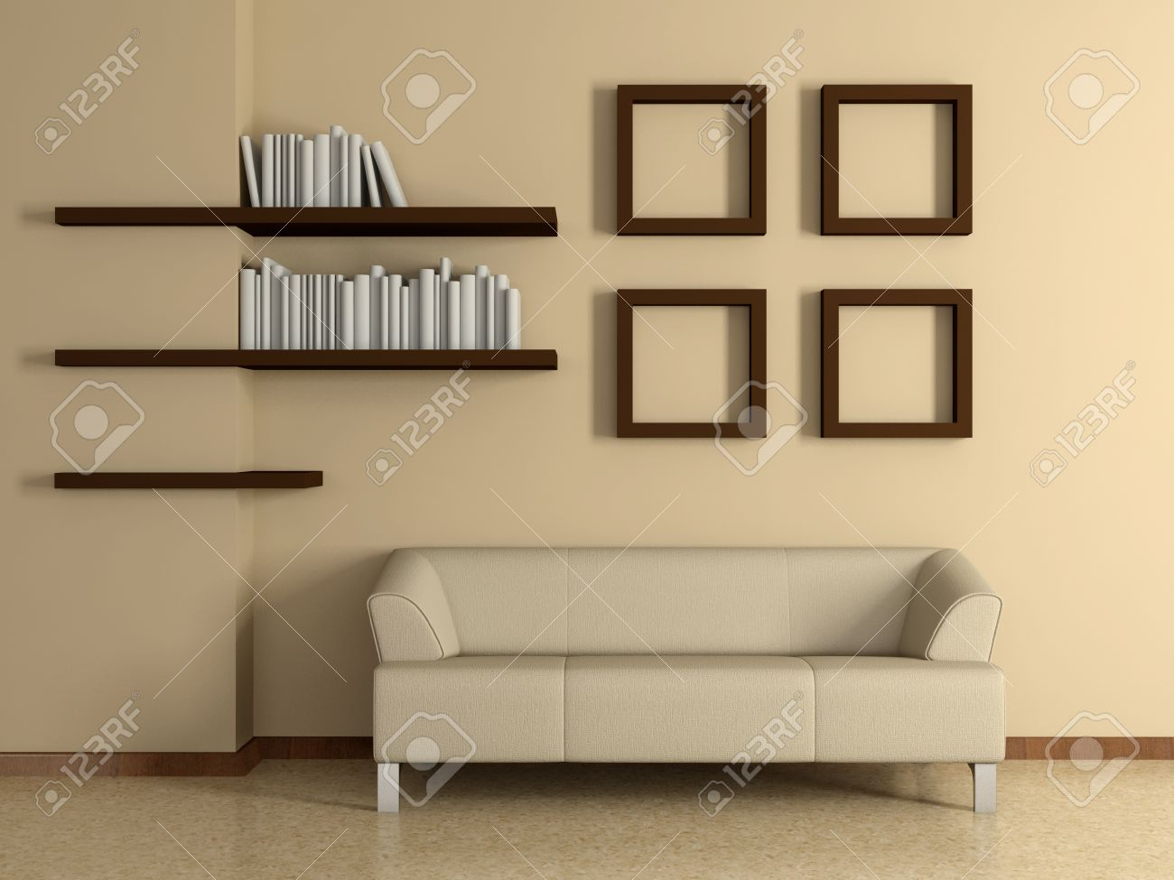 modern home interior with sofa near the beige wall and four modern home interior with sofa near the beige wall and four paintings book shelves