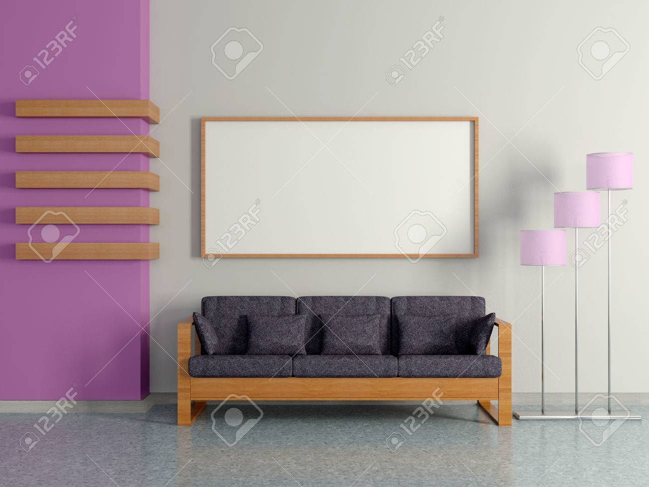 Modern Home Interior With Sofa Near The Violet Magenta Wall, Floor Lamp And  Painting.