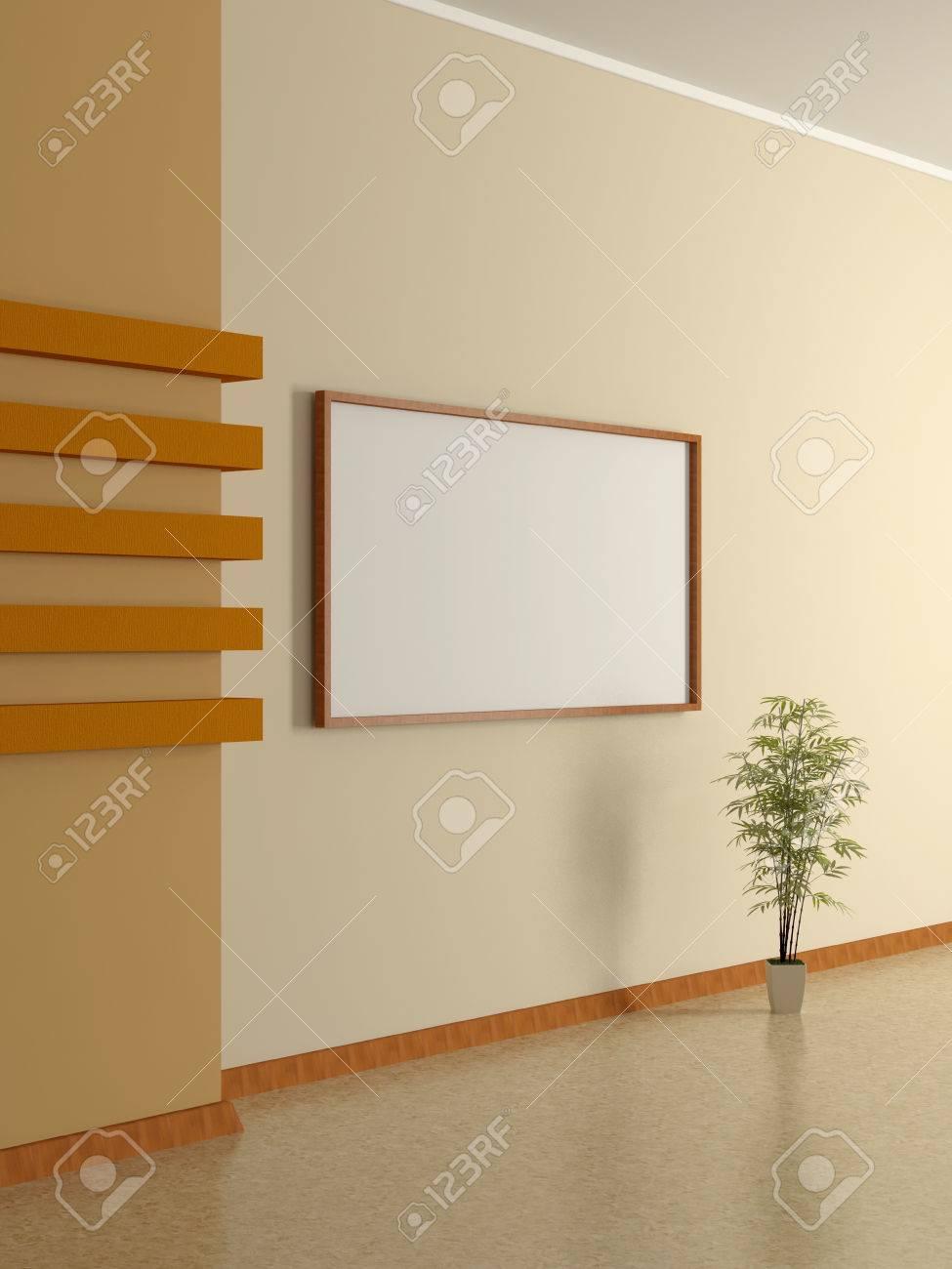 Intérieur De La Maison Moderne Avec Le Mur Plante En Pot Beige Et