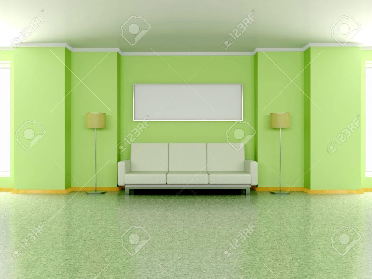 Intérieur De La Maison Moderne Avec Canapé Près De La Pea Mur Vert Lampe De Sol Et La Peinture 3d