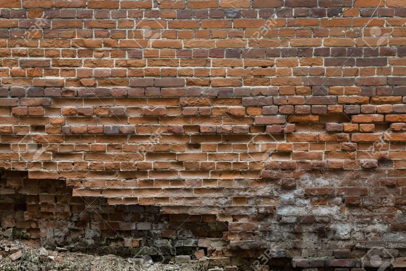 Mur En Brique Rouge résumé de fond de briques anciennes. vieux, fissuré, mur de briques de  brique rouge.
