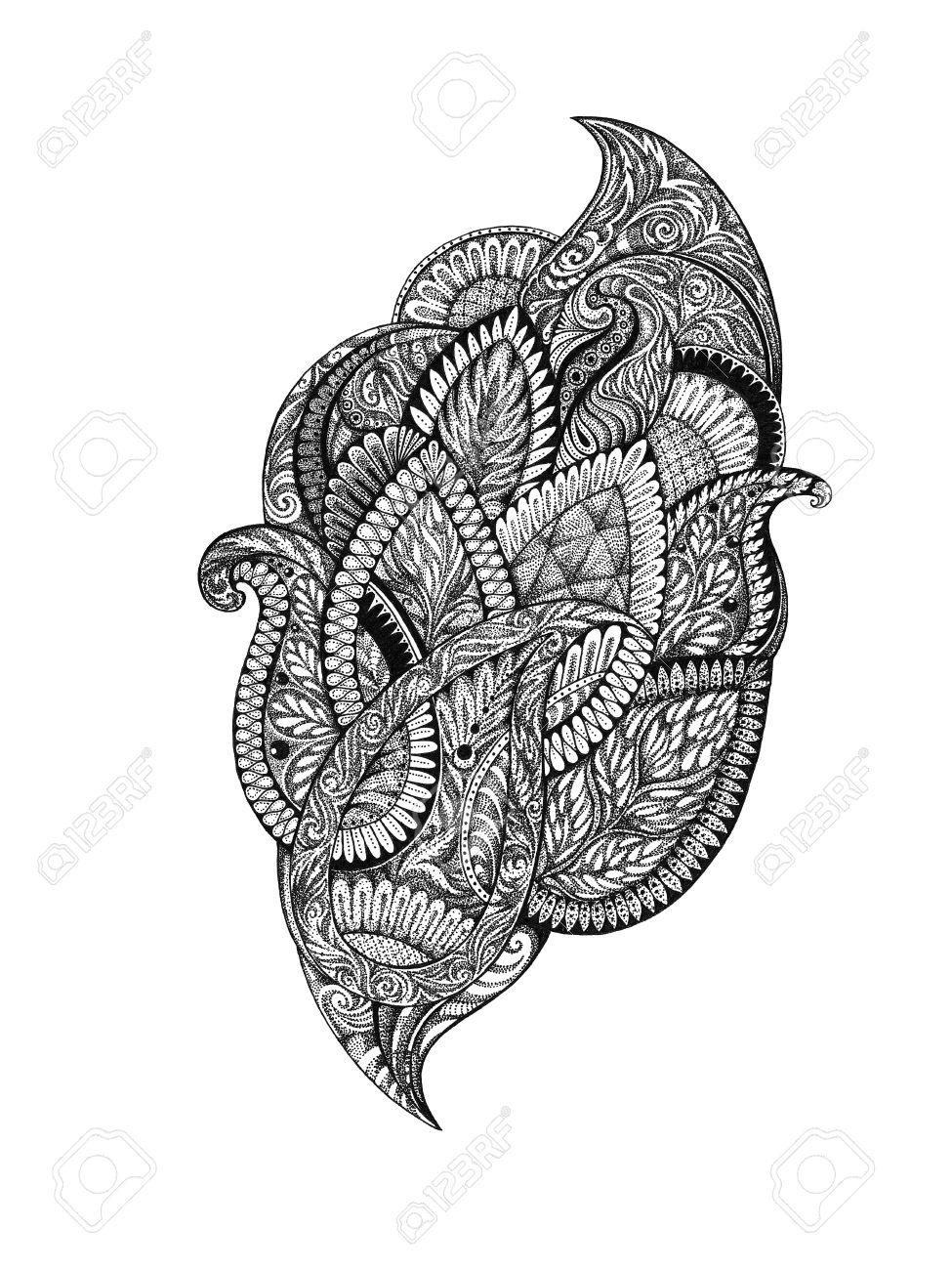Dessin A La Main Image Graphiques Ornements Floraux Dans Le Style