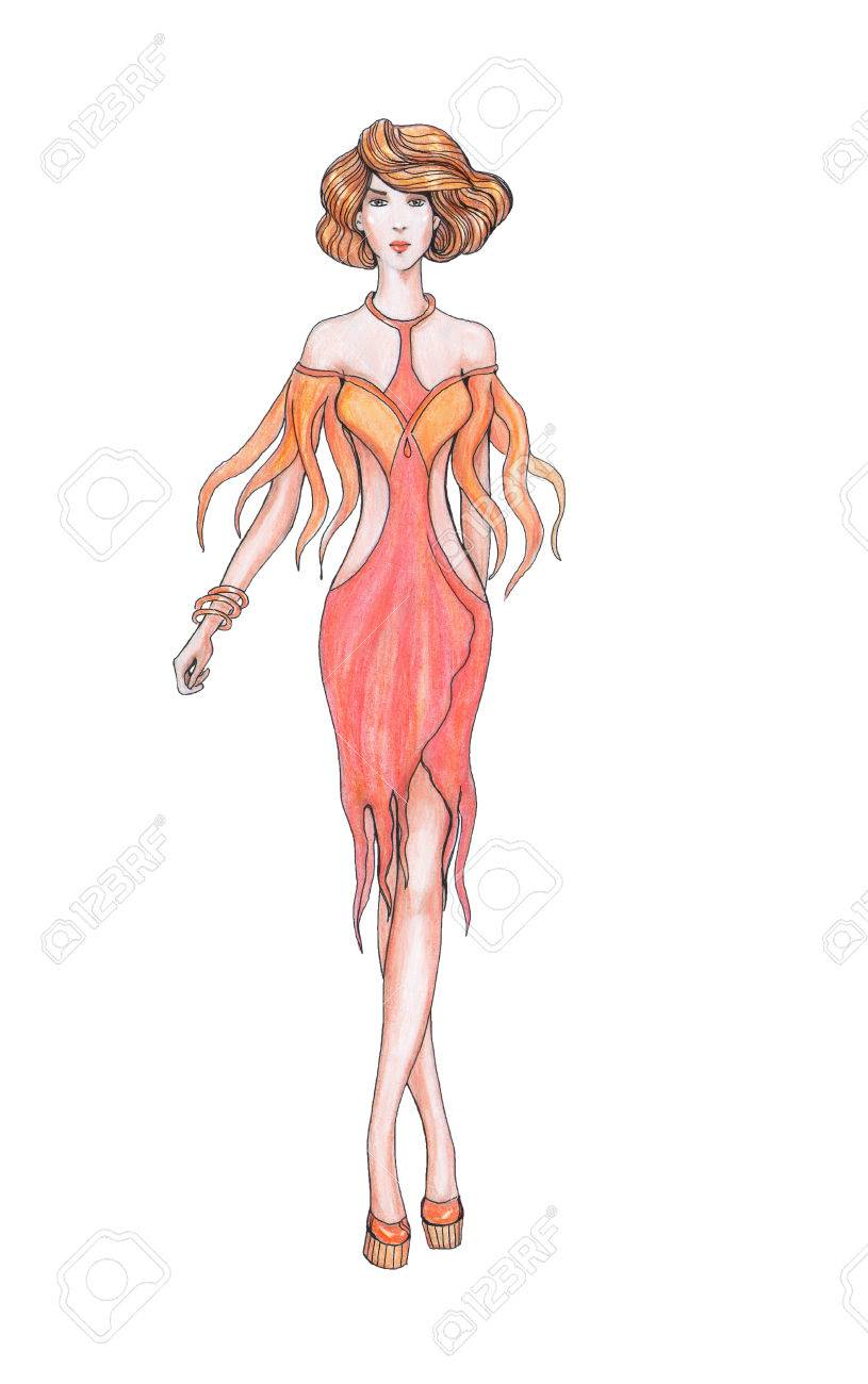 Pencil drawing sketch designer clothes fashion designer stock photo 28517302