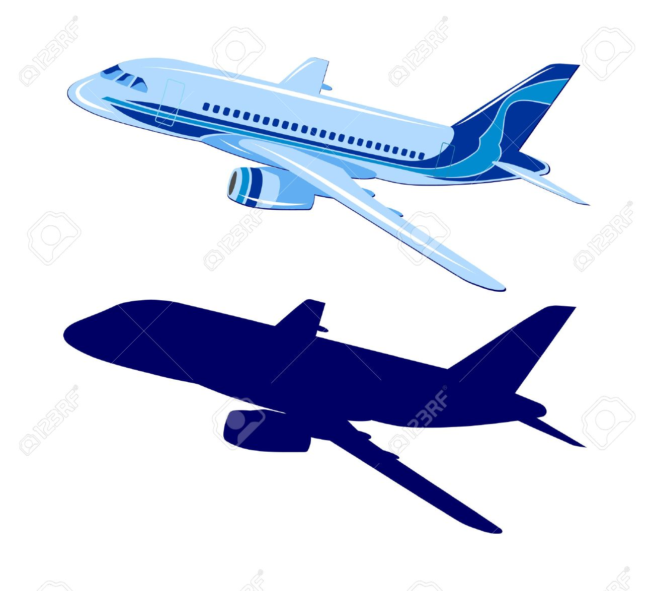 passenger aircraft vector plane on white background royalty free