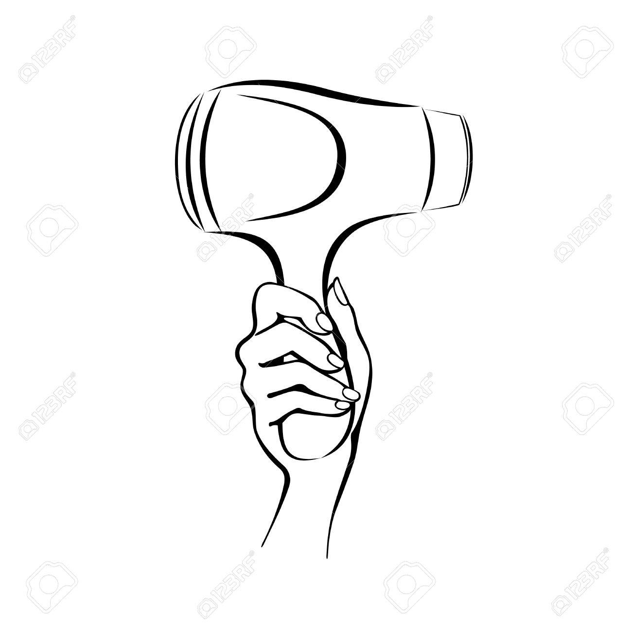 Vector Picture Of A Hand Holding A Hair Dryer Royalty Free Cliparts Vectors And Stock Illustration Image 28818126