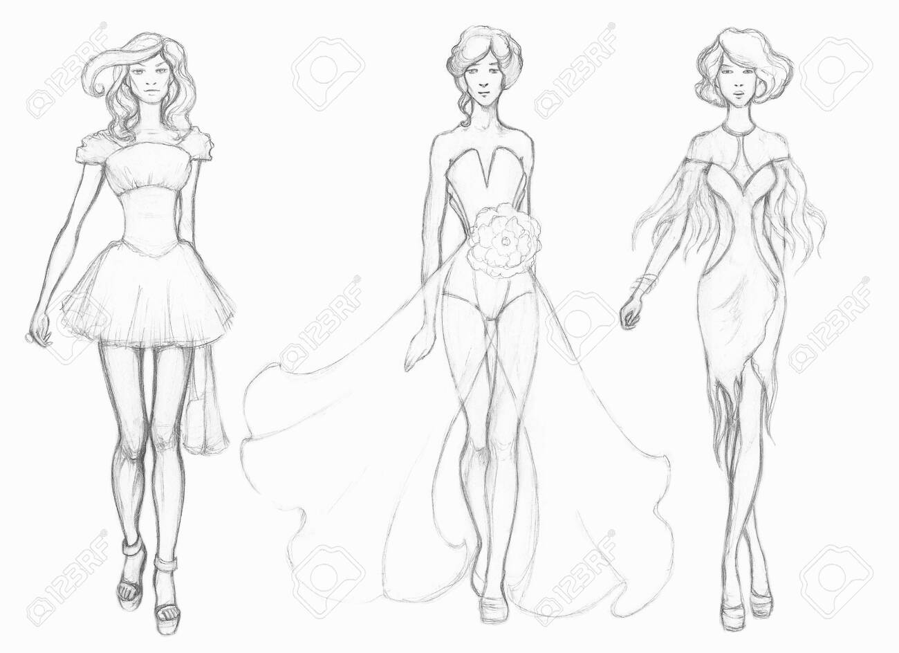 Pencil Drawing Sketch Designer Clothes Fashion Designer Stock Photo Picture And Royalty Free Image Image 128299684