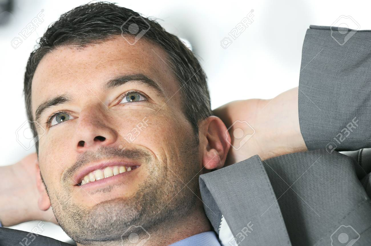Attractive businessman is taking break from business Stock Photo - 9645514