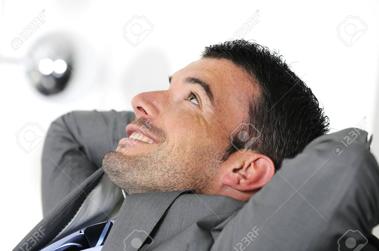 Attractive businessman is taking break from business Stock Photo - 10492481