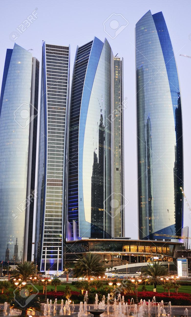 Skyscrapers in Abu Dhabi at dusk, United Arab Emirates Stock Photo - 13162072