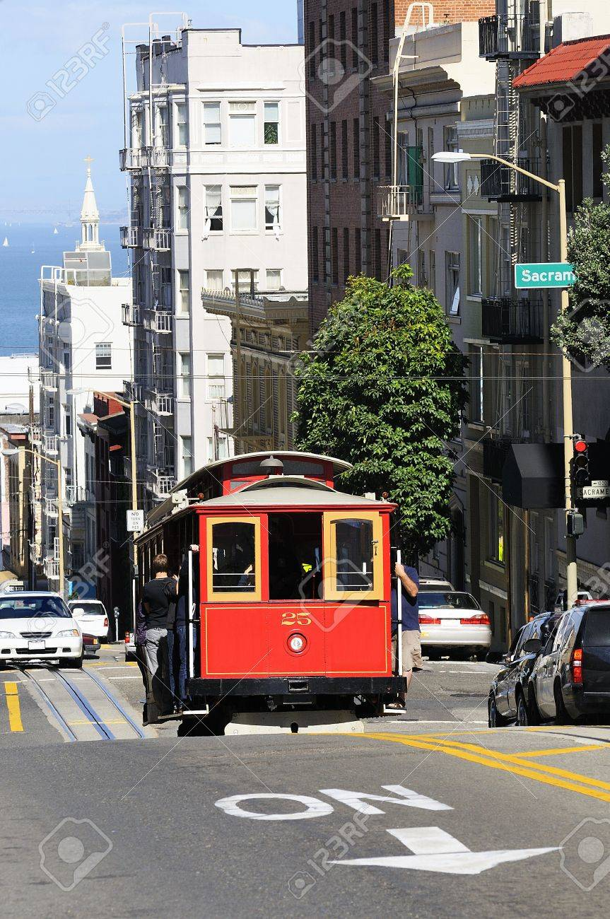 trolley car famous cable car on the street in san francisco city stock photo