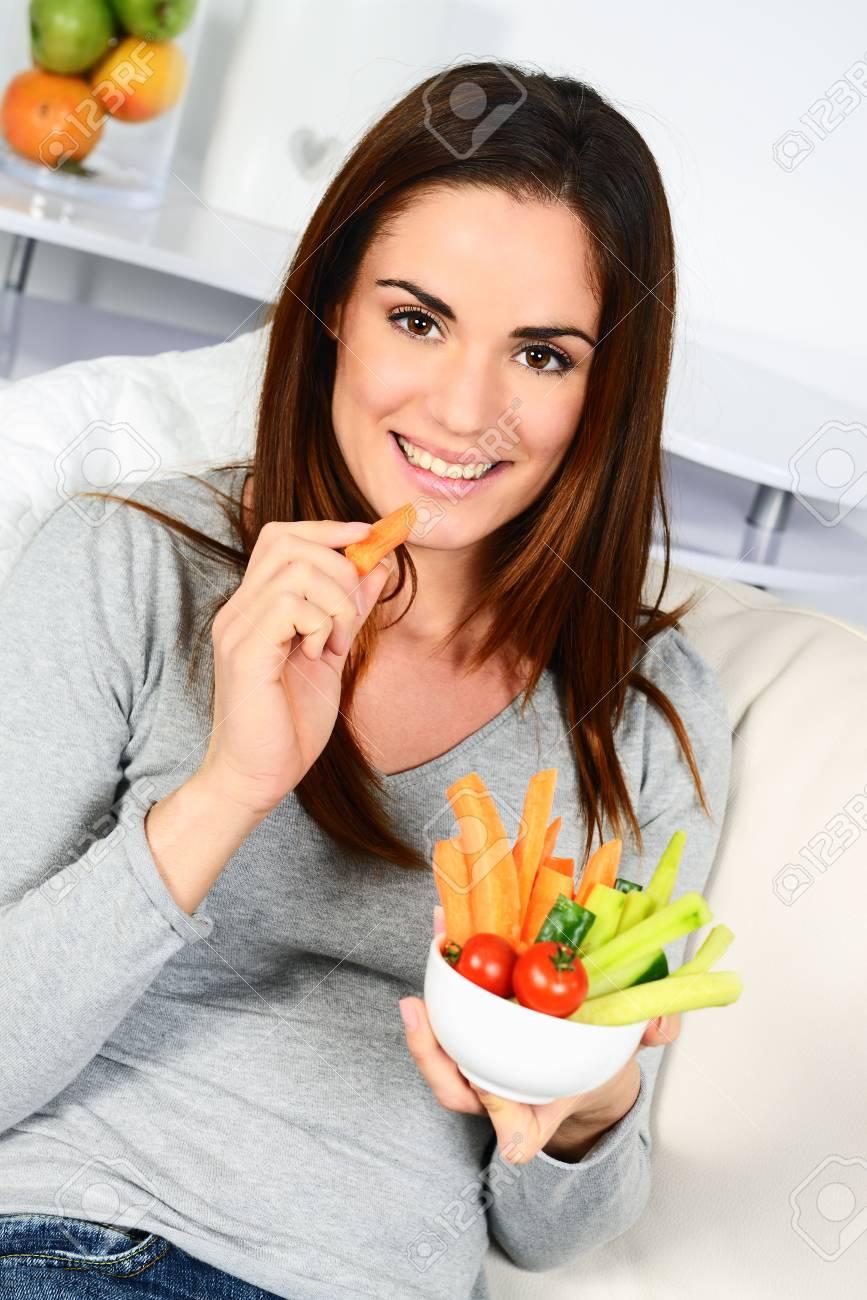 Woman Eating Salad Beautiful Healthy Smiling Caucasian Woman