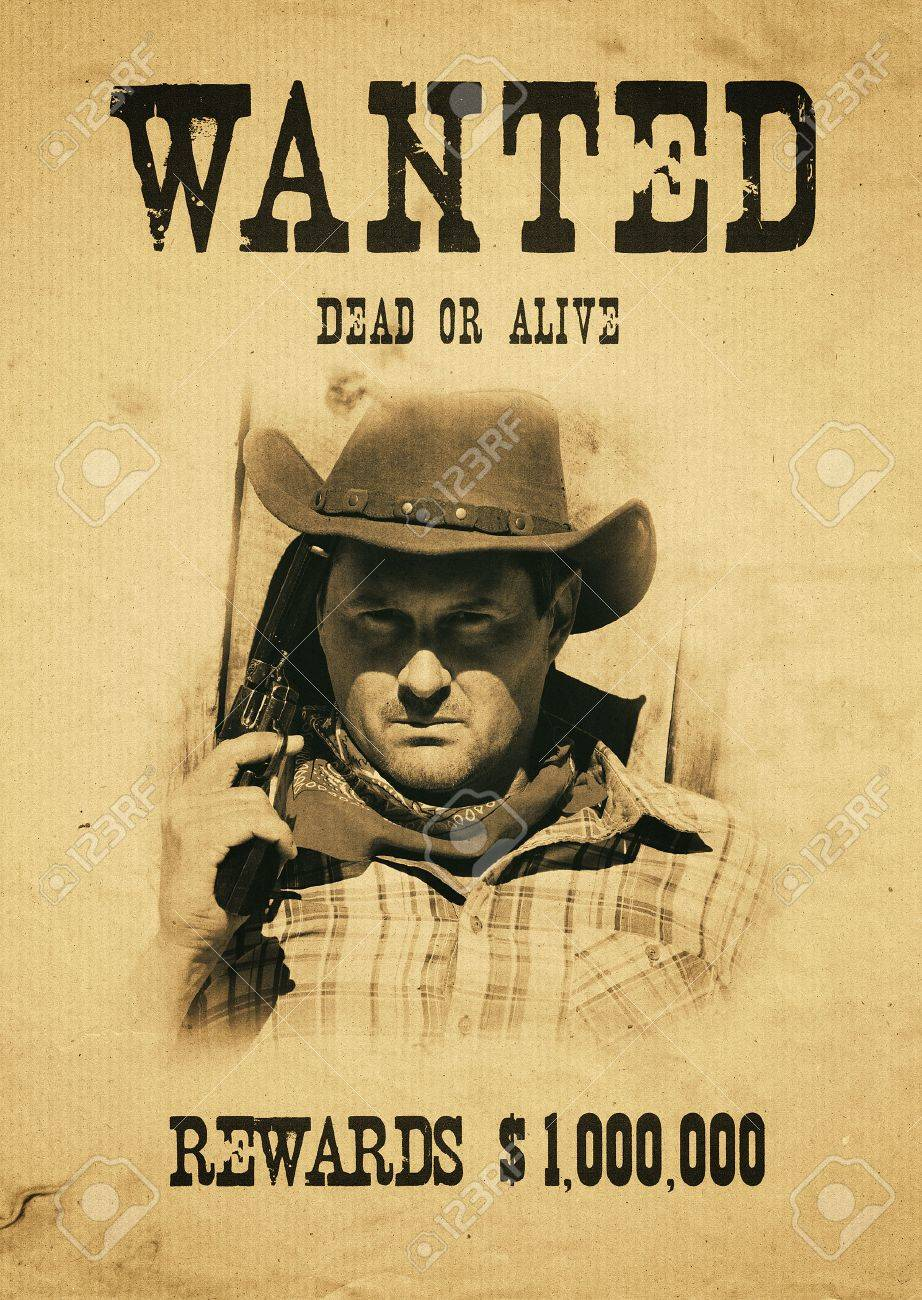 vintage wanted poster in a gost town - 31095837