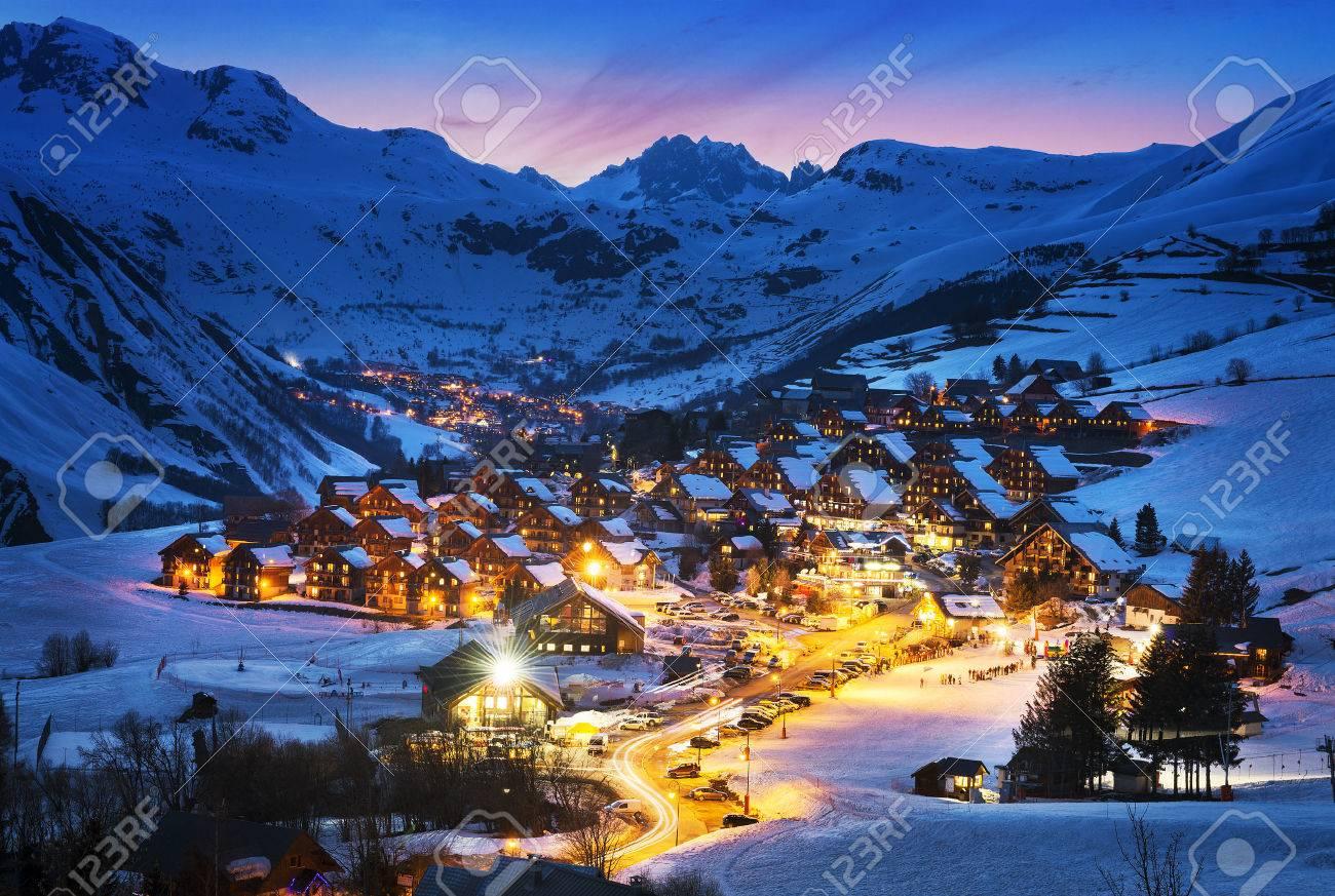 Evening landscape and ski resort in French Alps,Saint jean d'Arves, France - 31718649