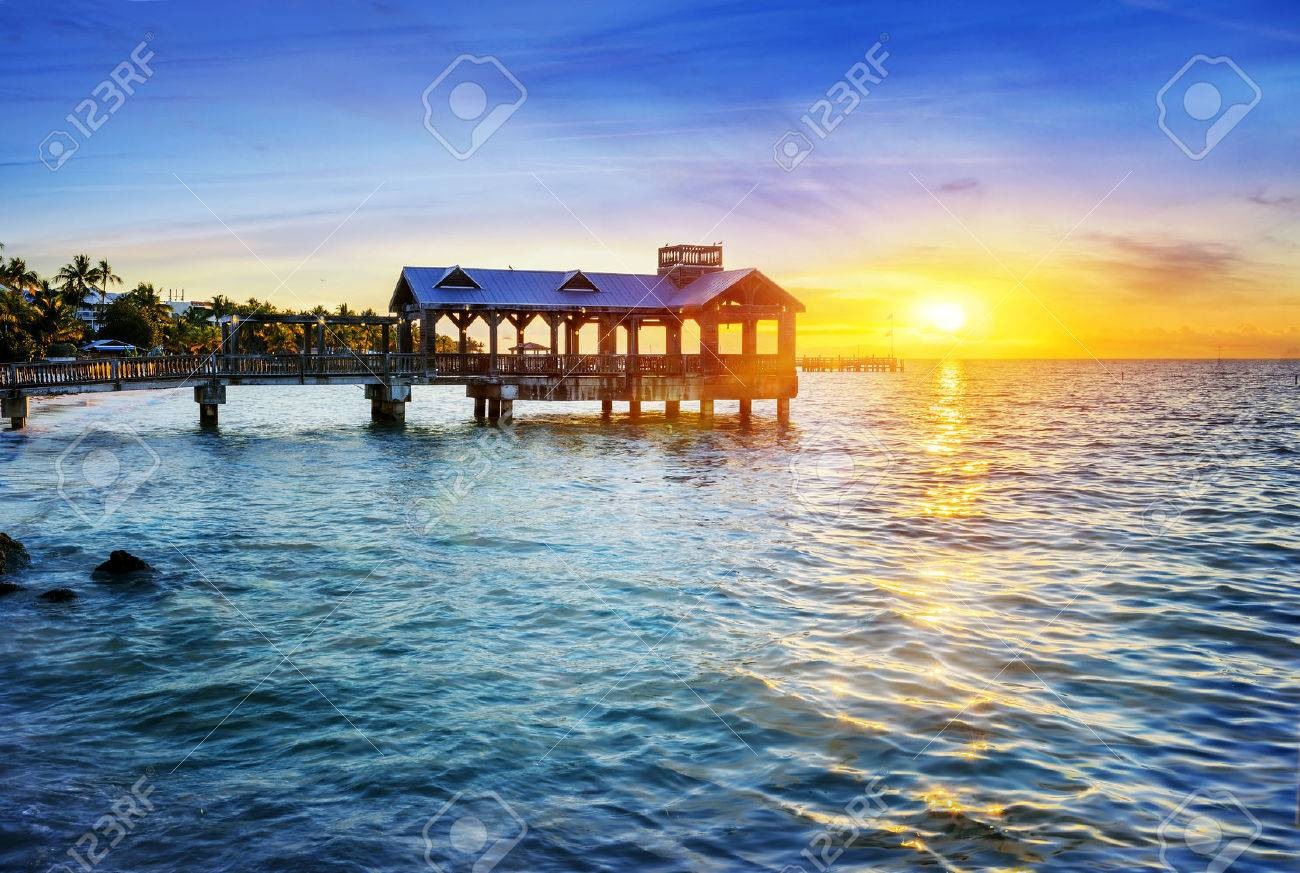 Pier at the beach in Key West, Florida USA - 36492137
