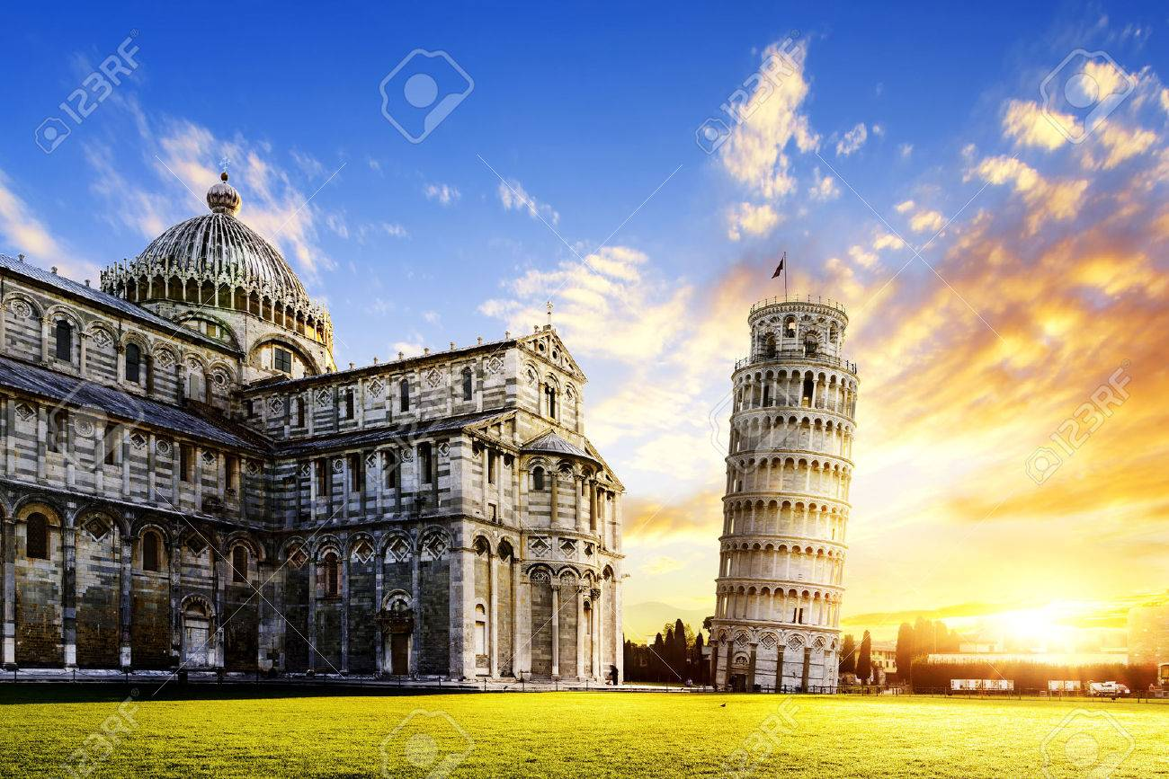 place of Miracoli complex with the leaning tower of Pisa in front, Italy - 36649390
