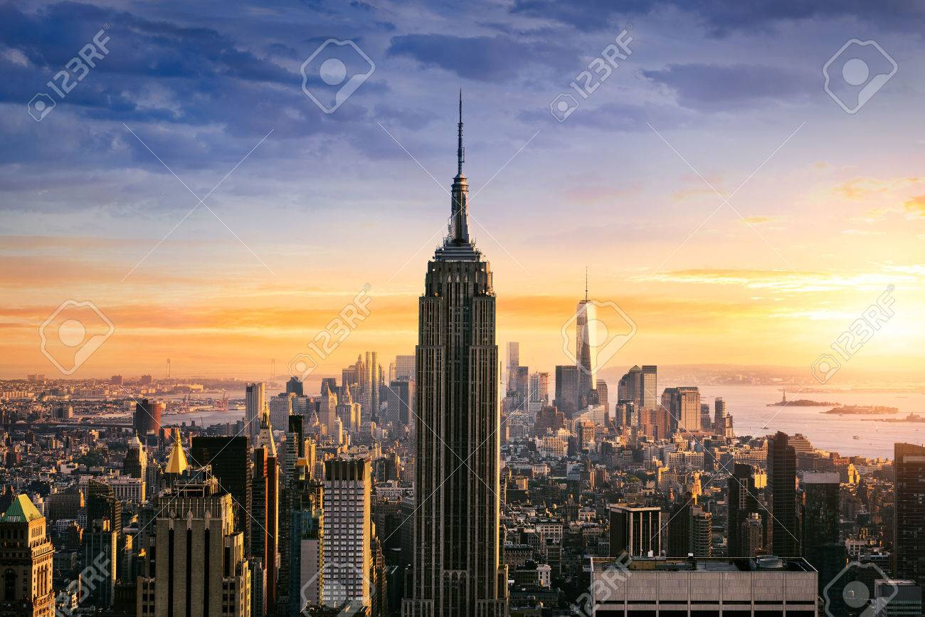 New York City Skyline With Urban Skyscrapers At Sunset, USA. Stock ...