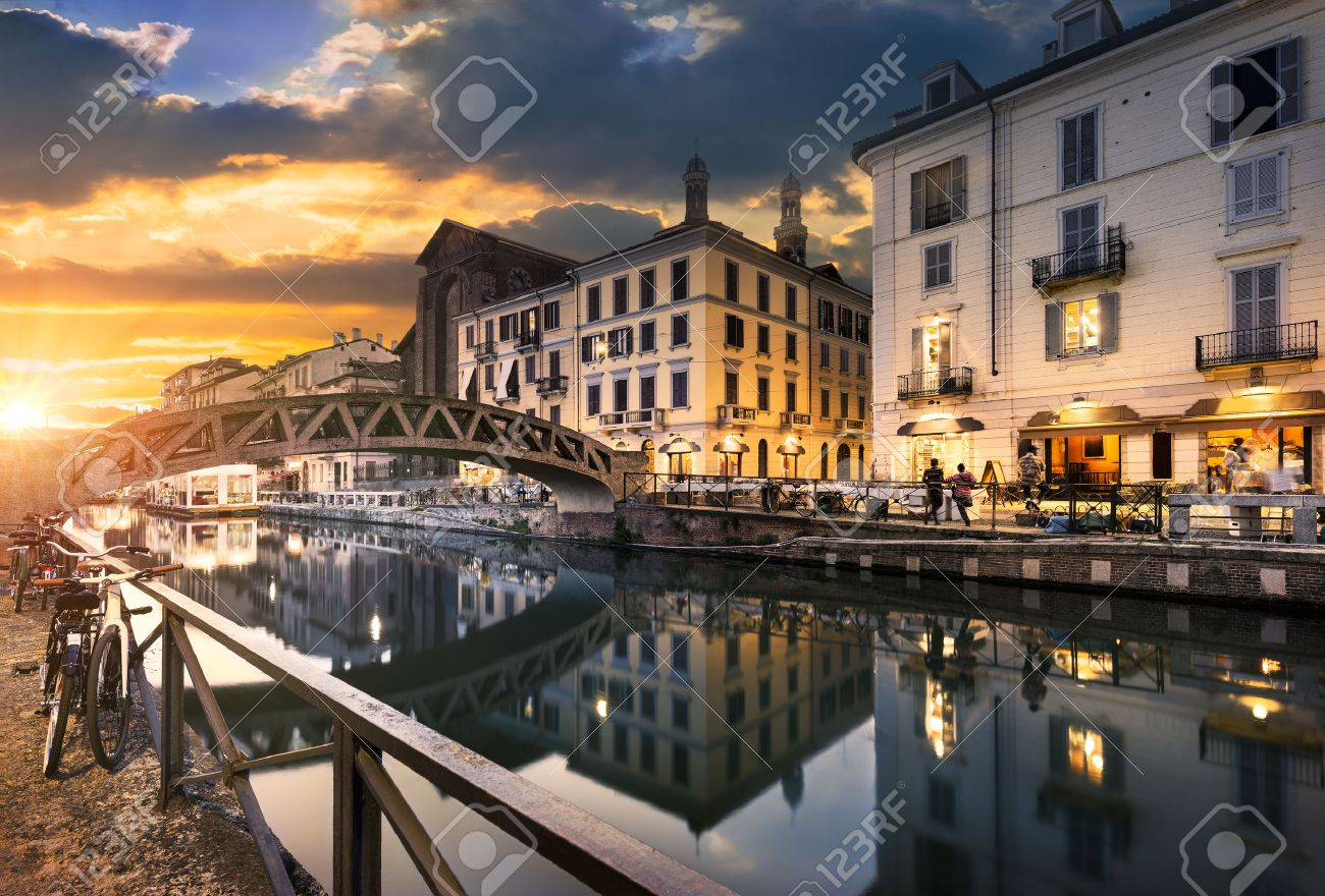 Bridge across the Naviglio Grande canal at the evening in Milan, Italy - 45203268