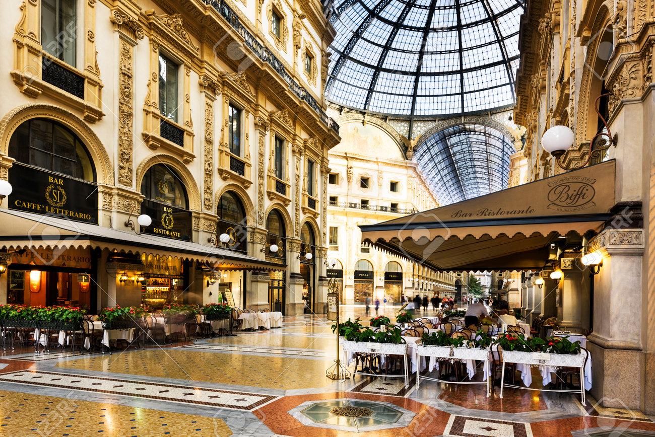 Milan Italy August 29 2015 Luxury Store In Galleria Vittorio