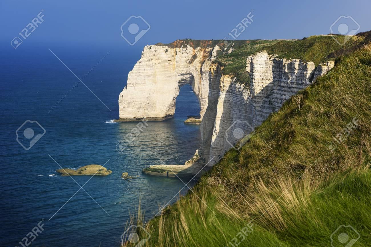 Falaise D Amont Cliff At Etretat Normandy France Stock Photo