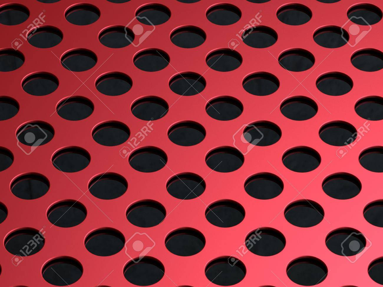 3D illustration of the red perforated metal plate on black background Stock Photo - 8738110