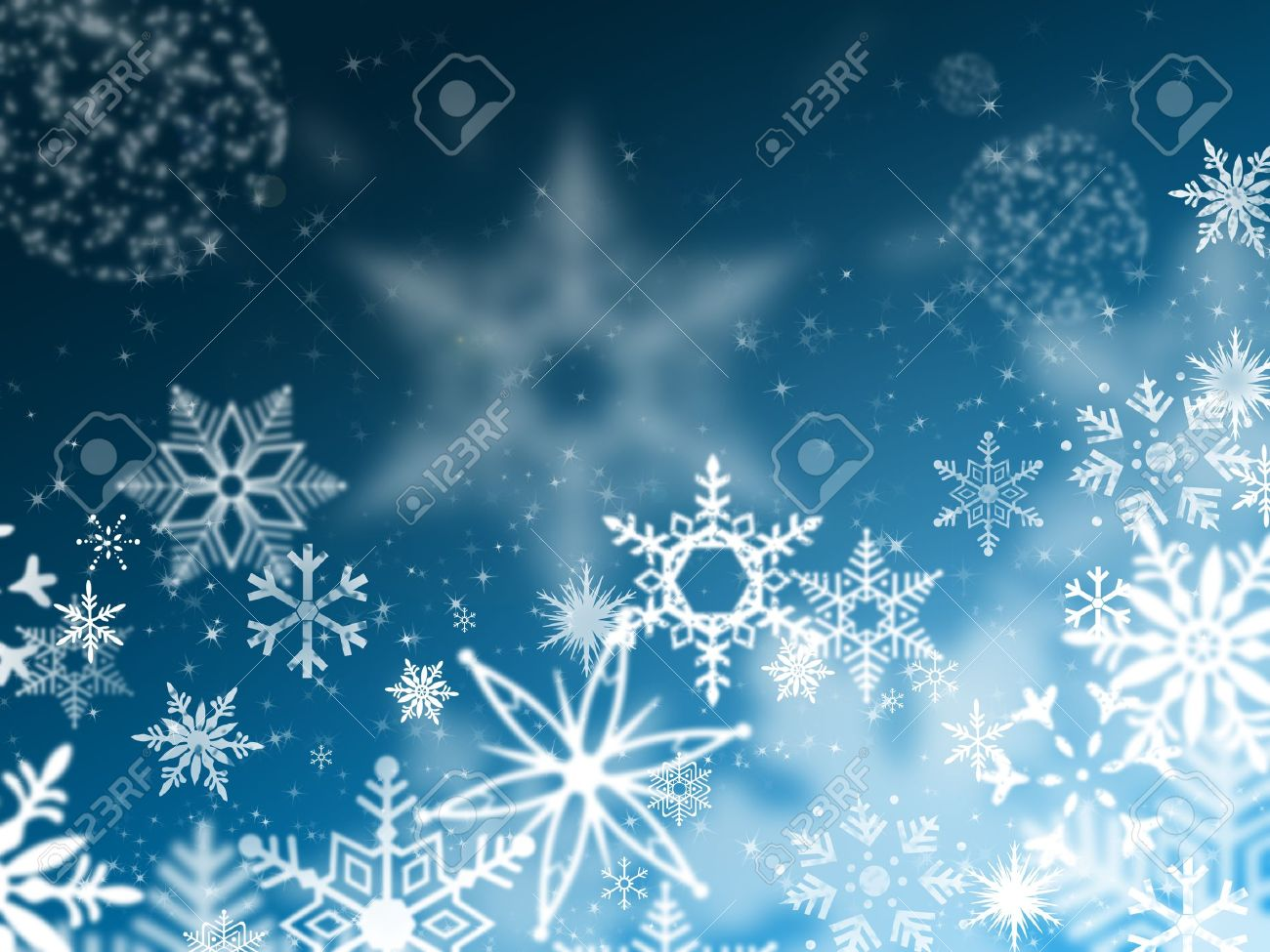 illustration of snowflakes falling from the blue sky night stock