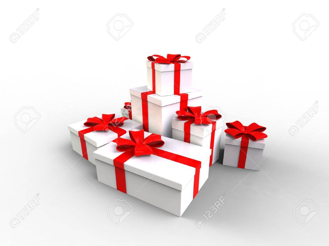 3d illustration of Gift box white with a red ribbon on white background Stock Illustration - 11353171