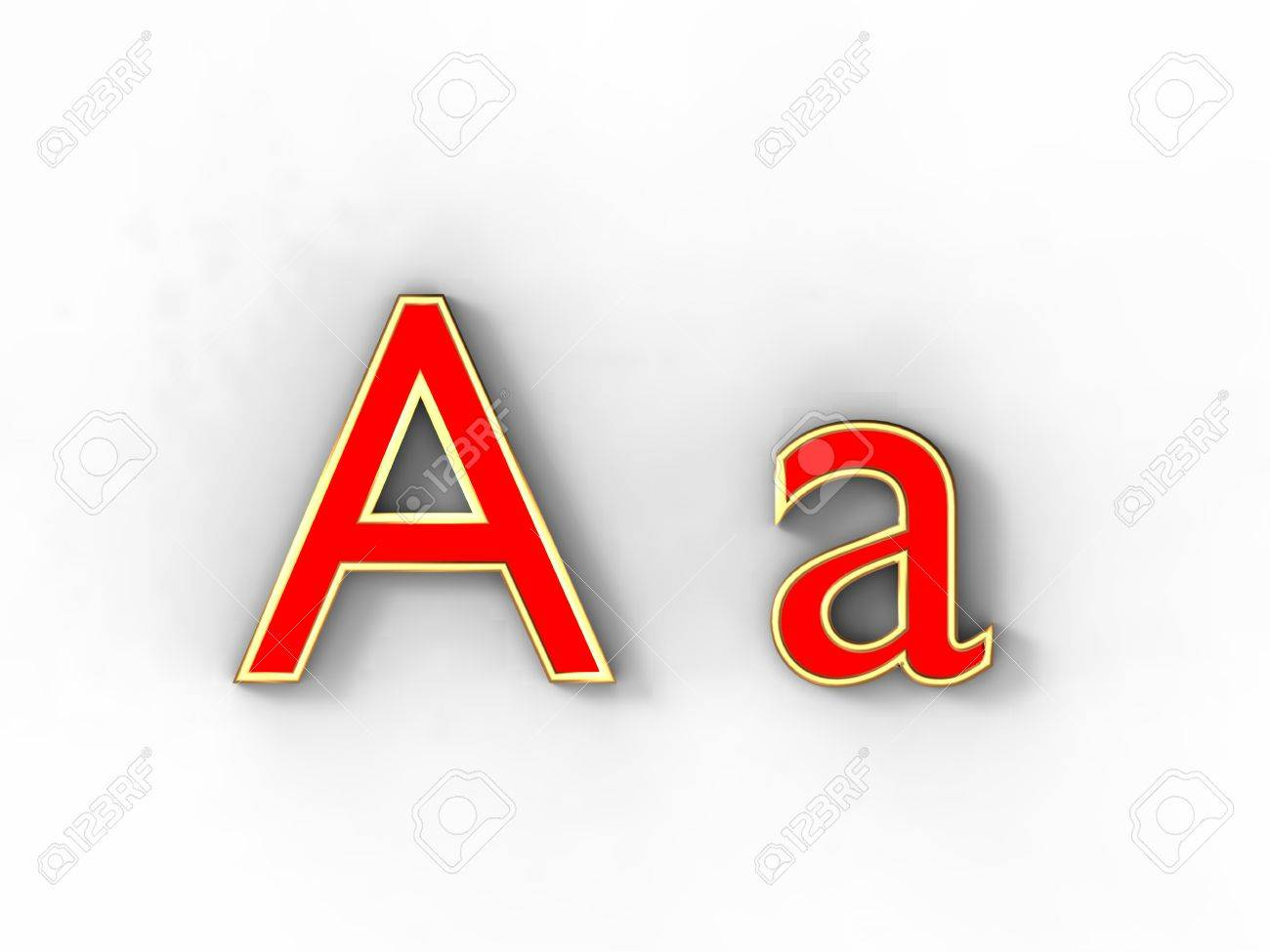 3d rendering of the letter A in gold and red metal on a white background. Stock Photo - 12678033