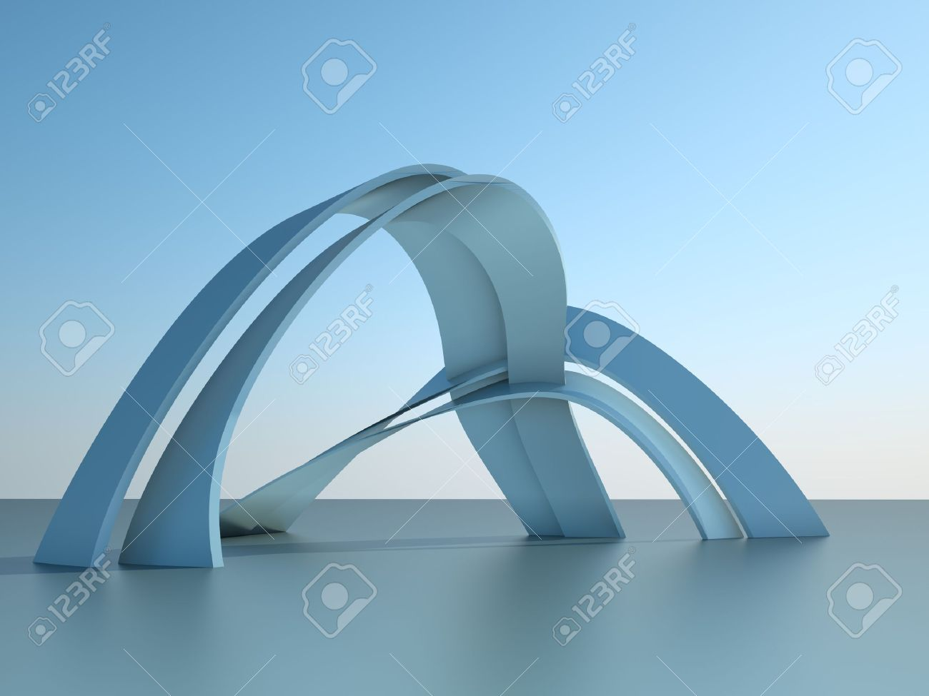 Modern Architecture Arches 3d illustration of a modern architecture building with arches