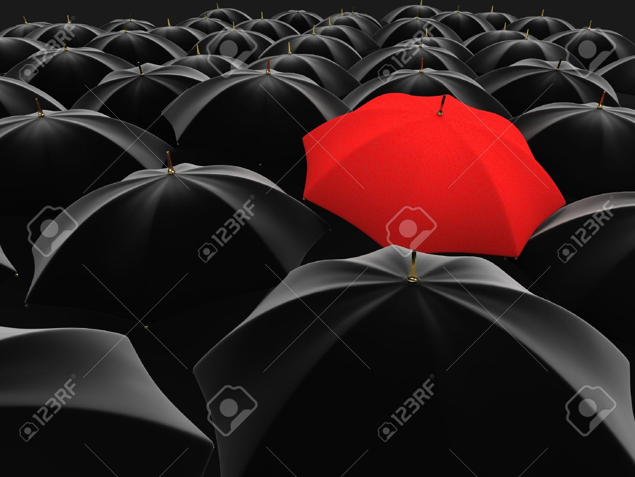 3d illustration of a red umbrella in the middle of several black umbrellas - 13251390