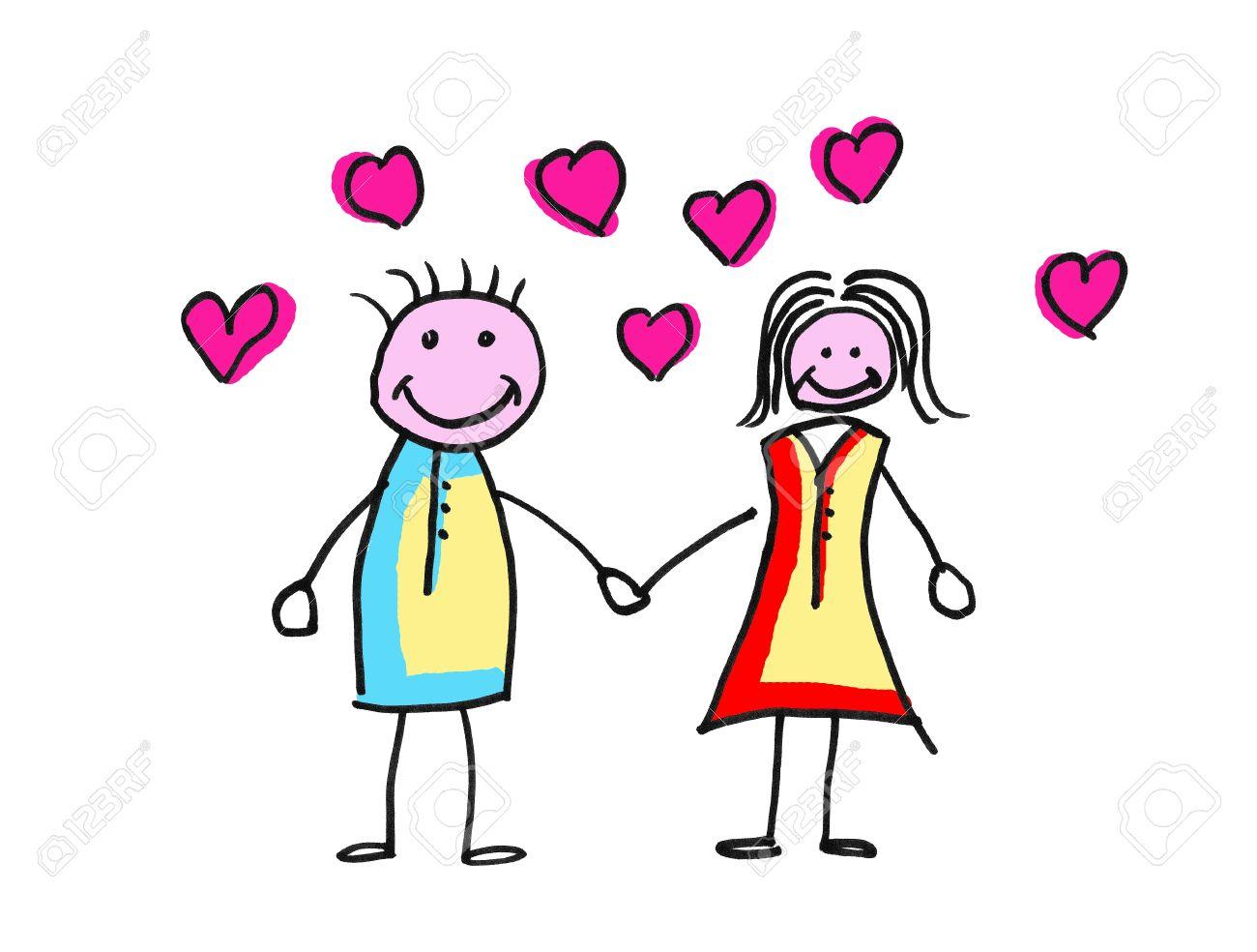 Ilustración De Un Dibujo De Una Pareja De Enamorados Rodeados De