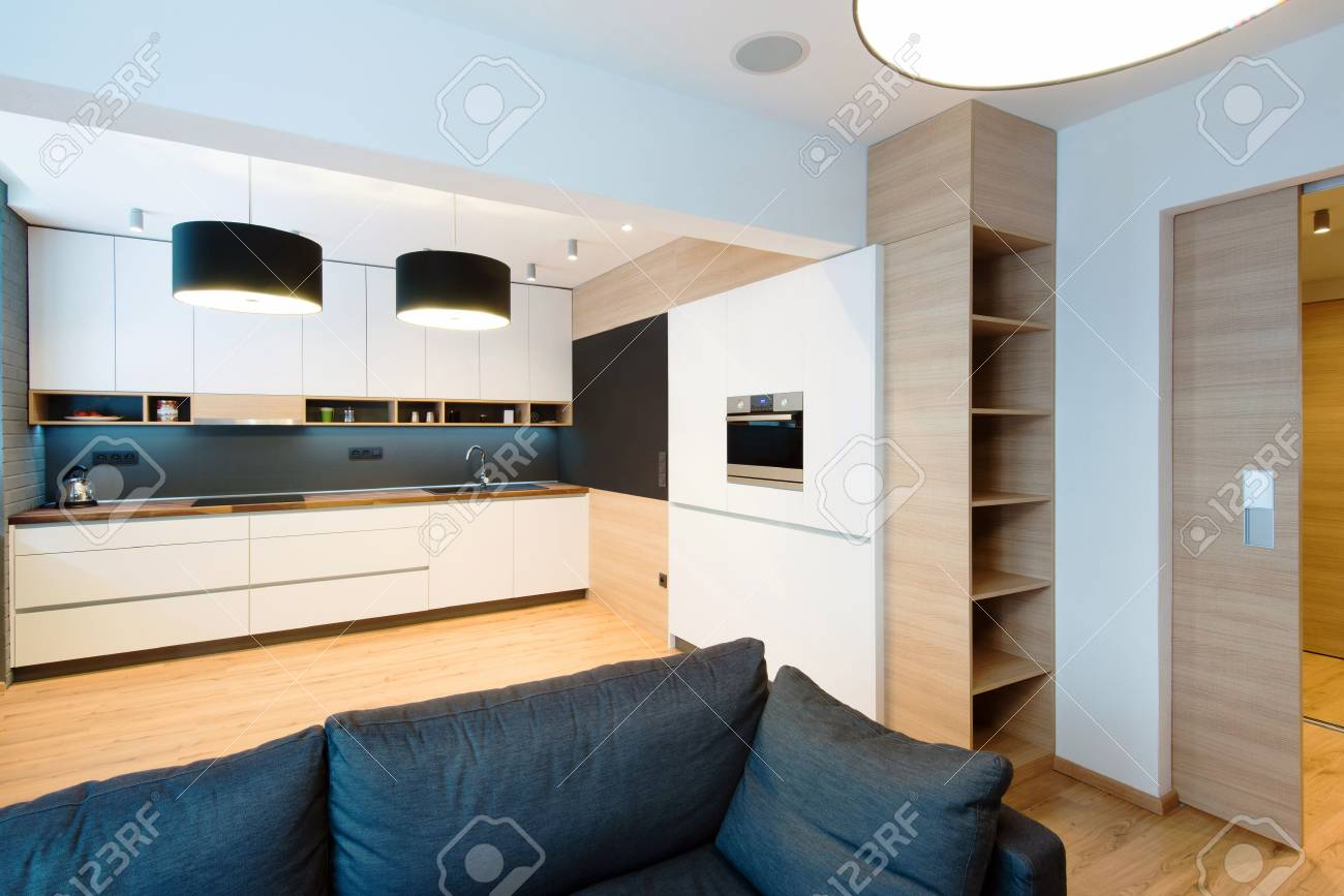 Modern Kitchen Living Room Interior Of Modern Kitchen Connected With Living Room Stock Photo