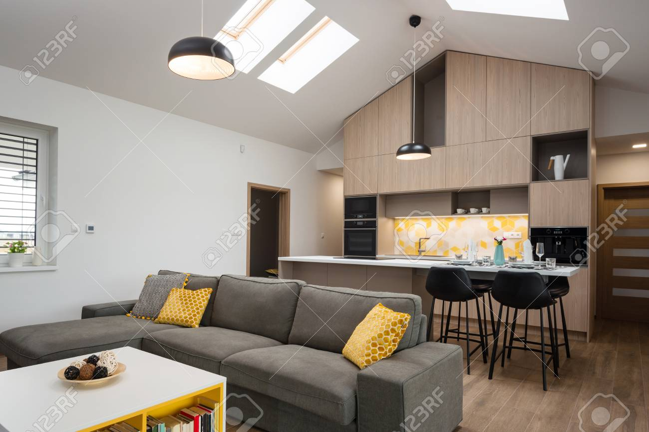 Living room connected with kitchen in background contemporary