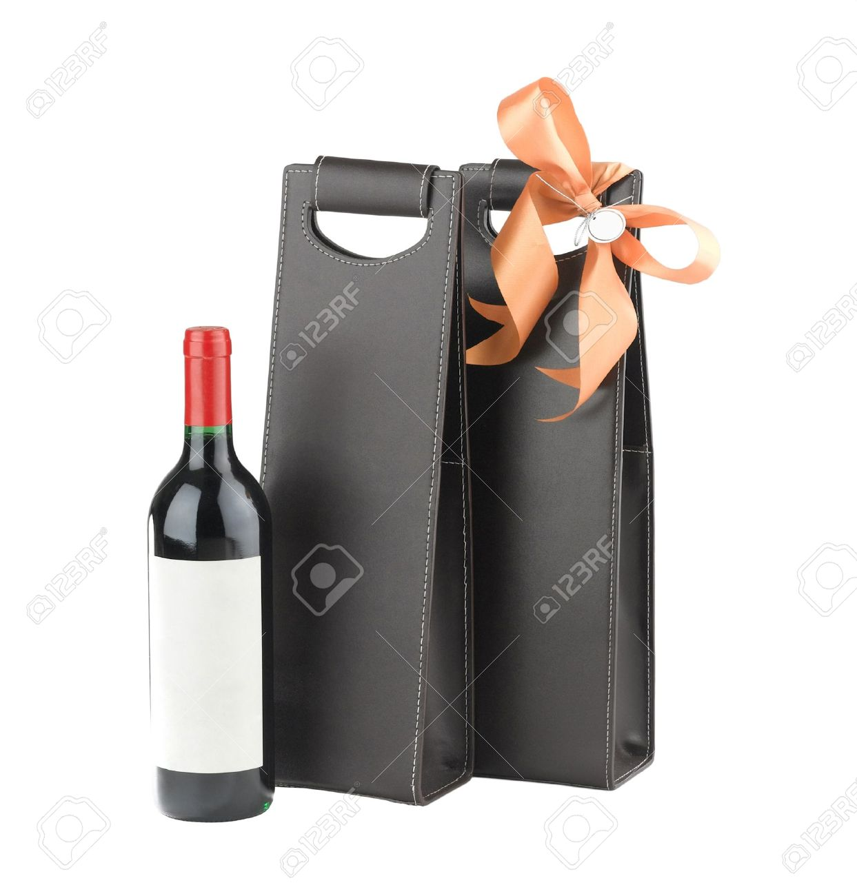 A luxury leather wine bag and wine bottle ready to gift to someone Stock Photo - 16658288