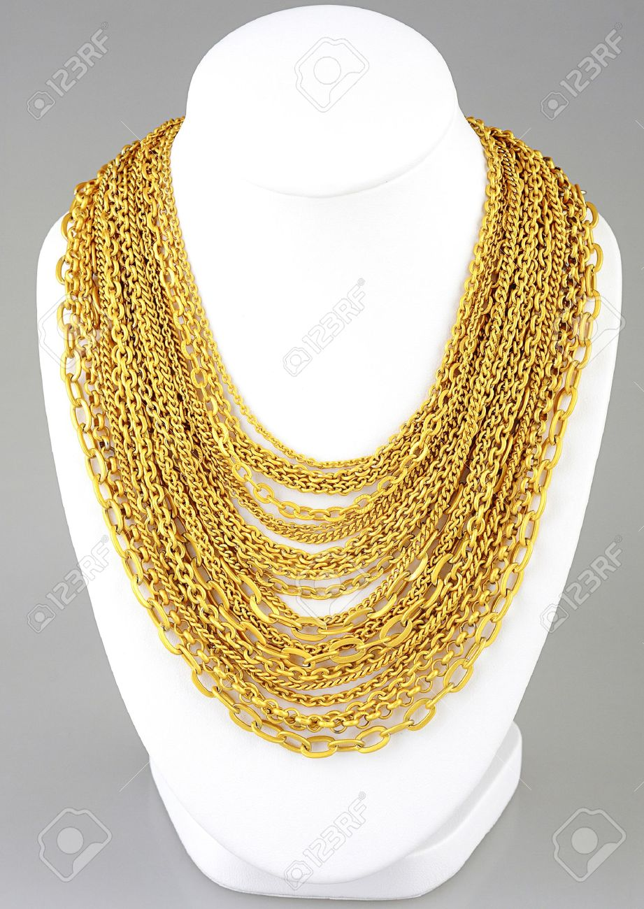 A Lot Of Valuable Gold Necklaces Stock Photo, Picture And Royalty ...