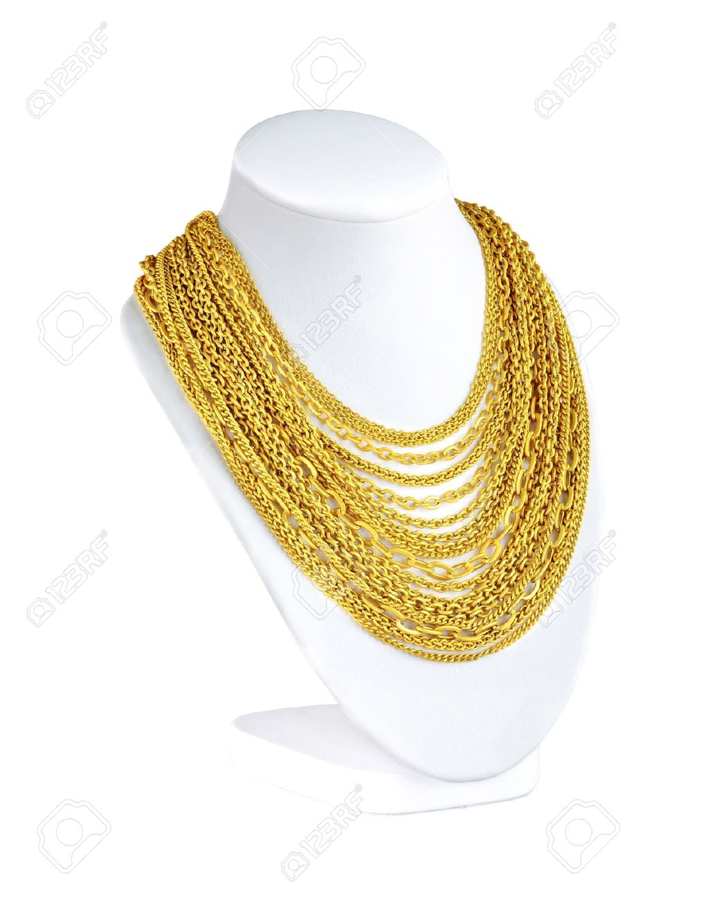 A Lot Of Attractive Gold Necklaces For You To Choose Stock Photo ...