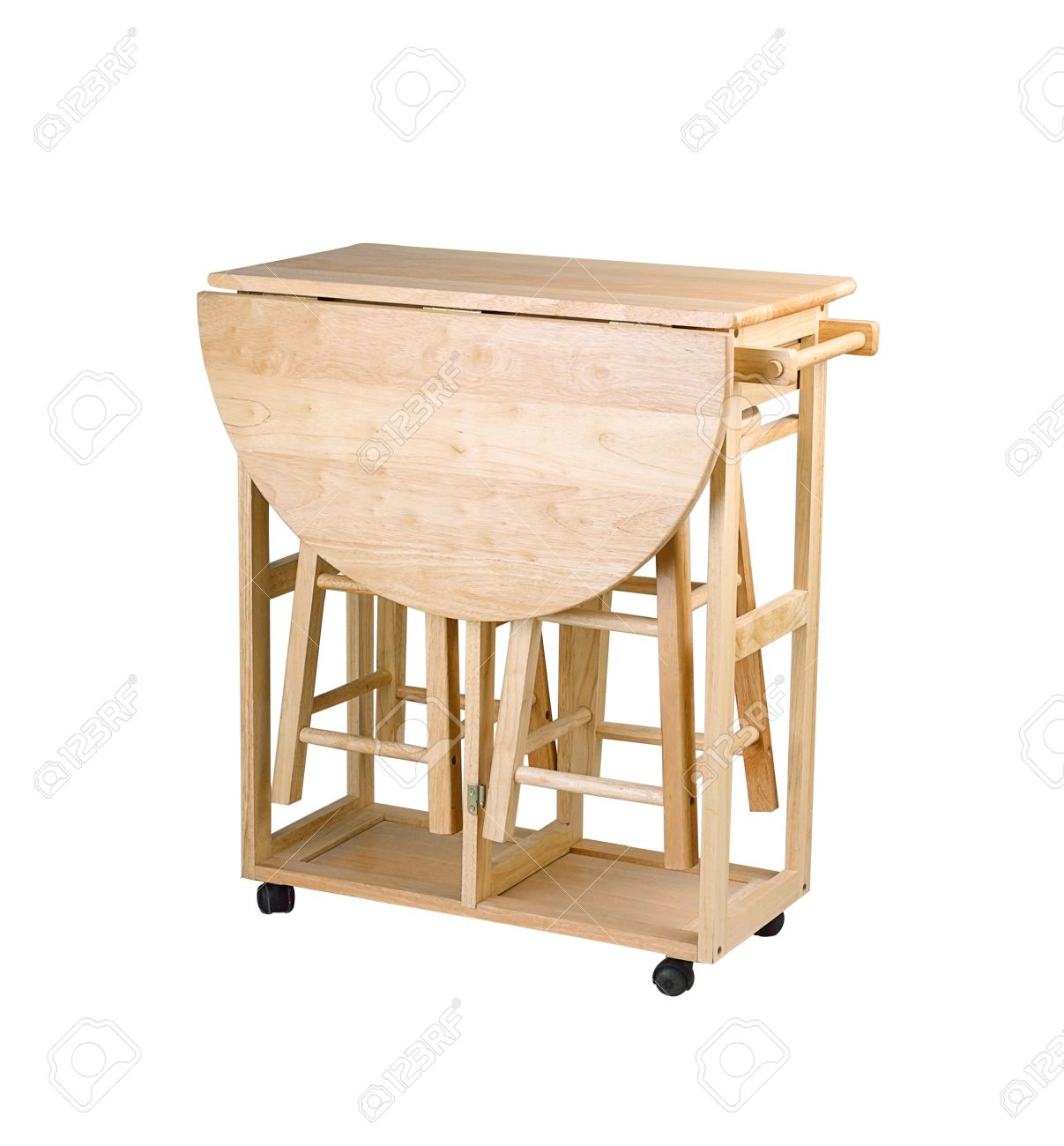 Folding And Movable Wooden Table With Stools For Little Kitchen