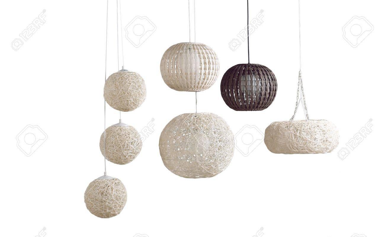 Schone Moderne Design Von Rattan Deckenlampen Lizenzfreie Fotos