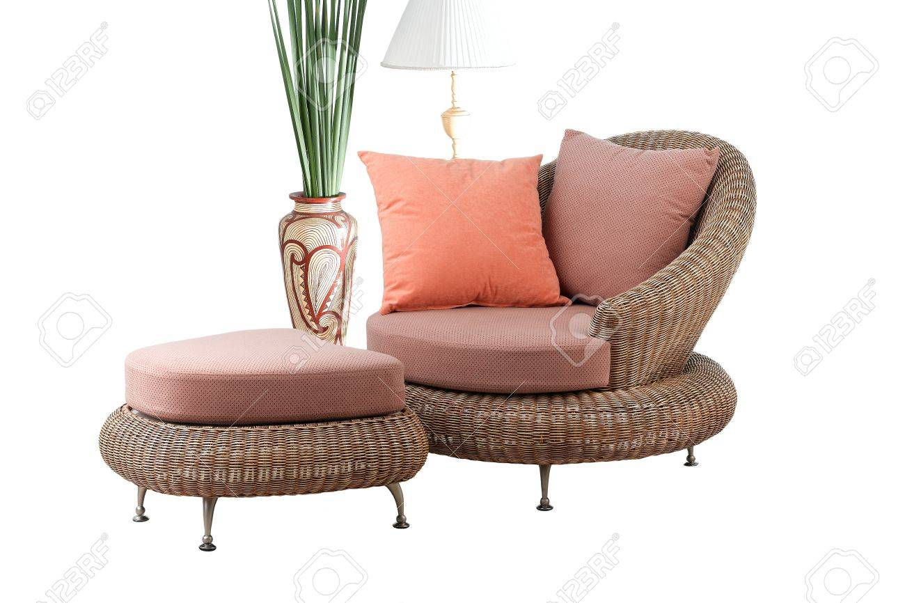 A modern design of rattan sofa and stool with beautiful cushion Stock Photo - 17037625
