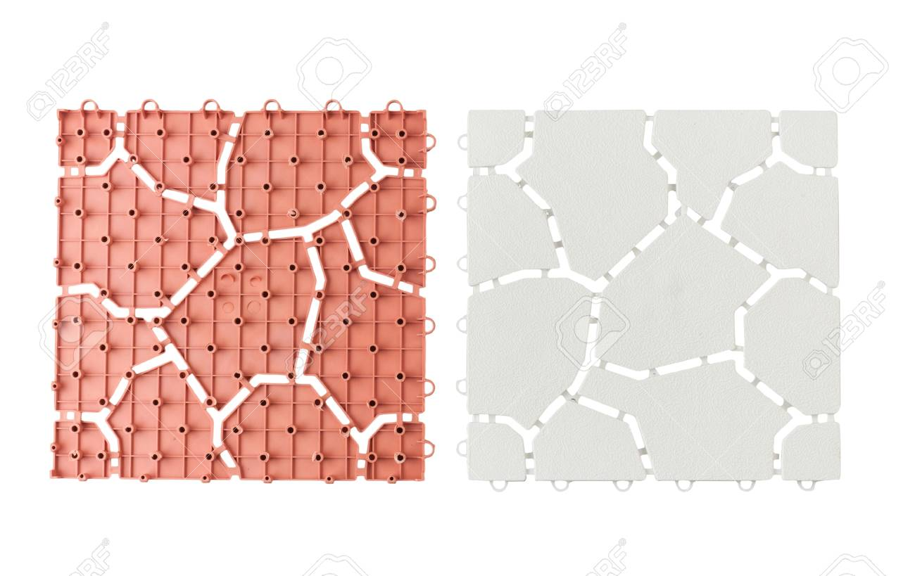 Anti Slip Plastic Tiles For Bathroom Or Wet Area Stock Photo ...
