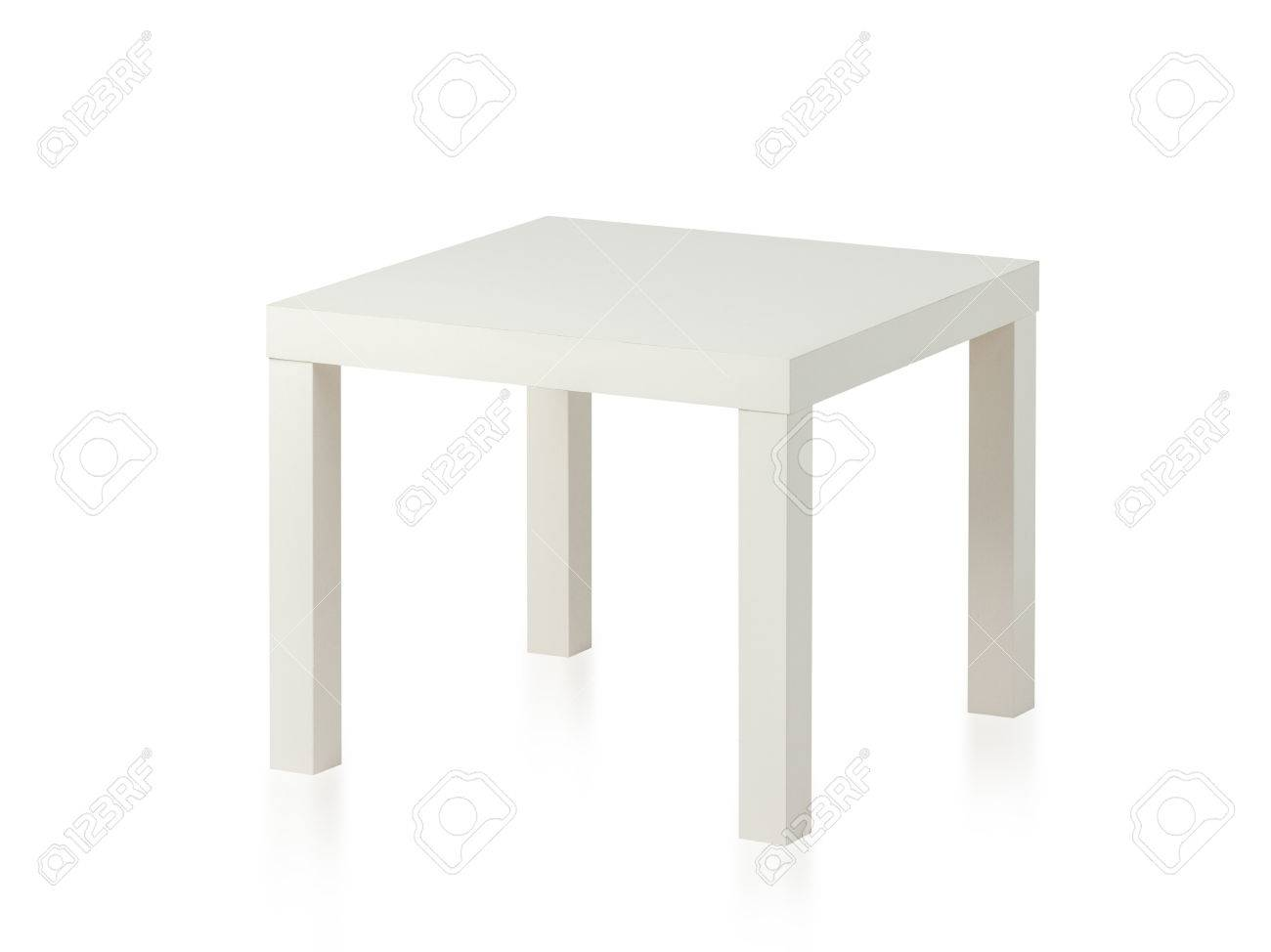 White Plastic Table Isolated White Background Stock