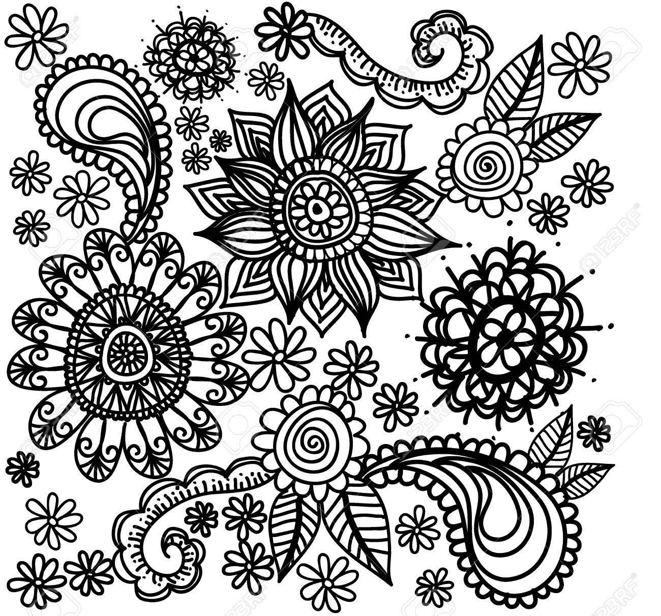 Vector De Las Flores Blancas Del Vector Y Negro. Página Para ...