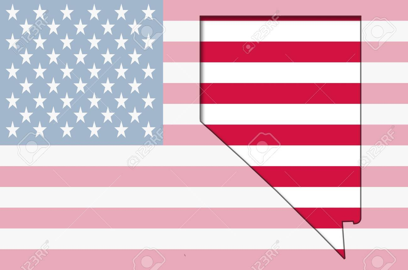 Transparent Outline Map Of Nevada On USA Flag Stock Photo Picture - Usa map transparent