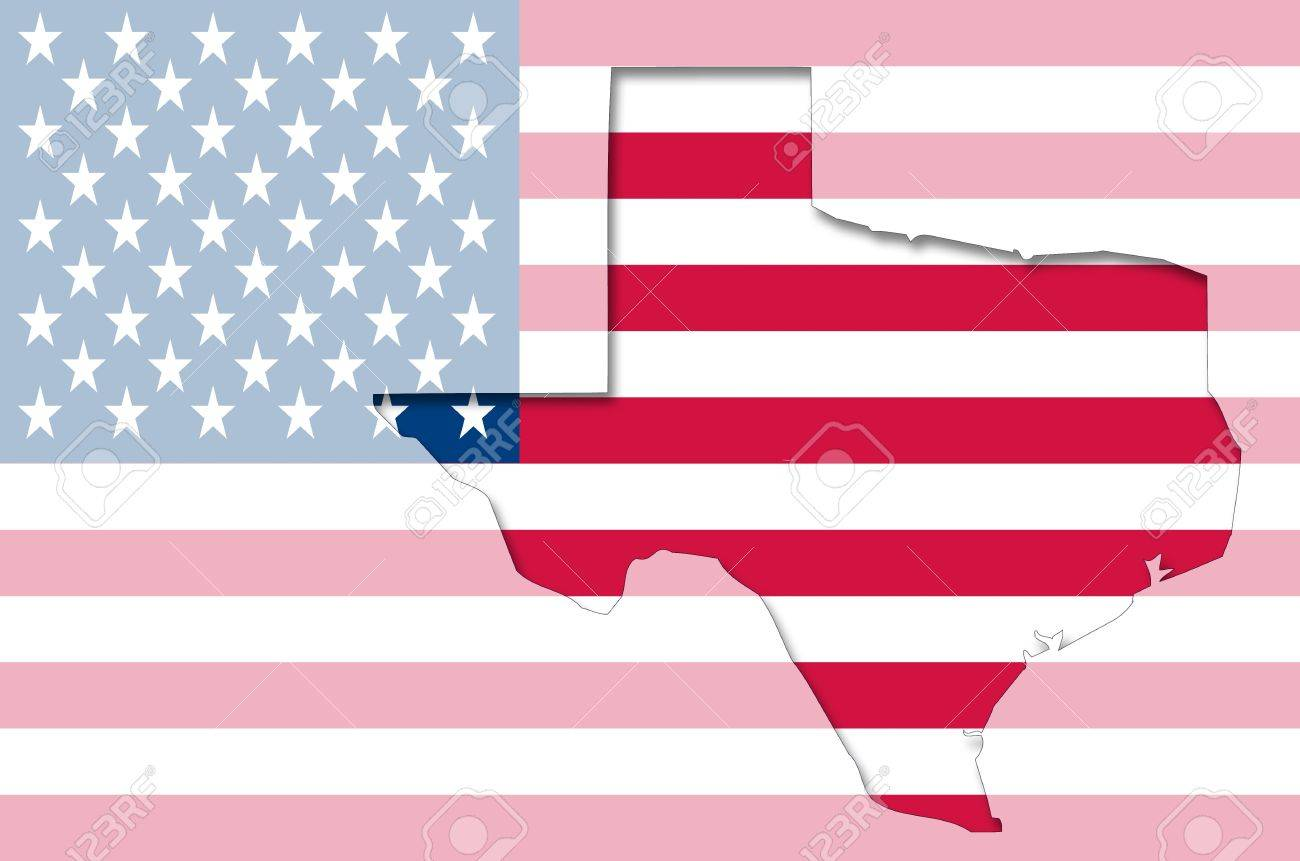 Transparent Outline Map Of Texas On USA Flag Stock Photo Picture - Texas on us map