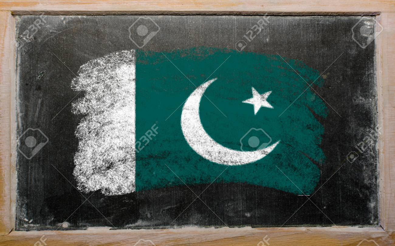 chalky pakistan flag painted with color chalk on old blackboard