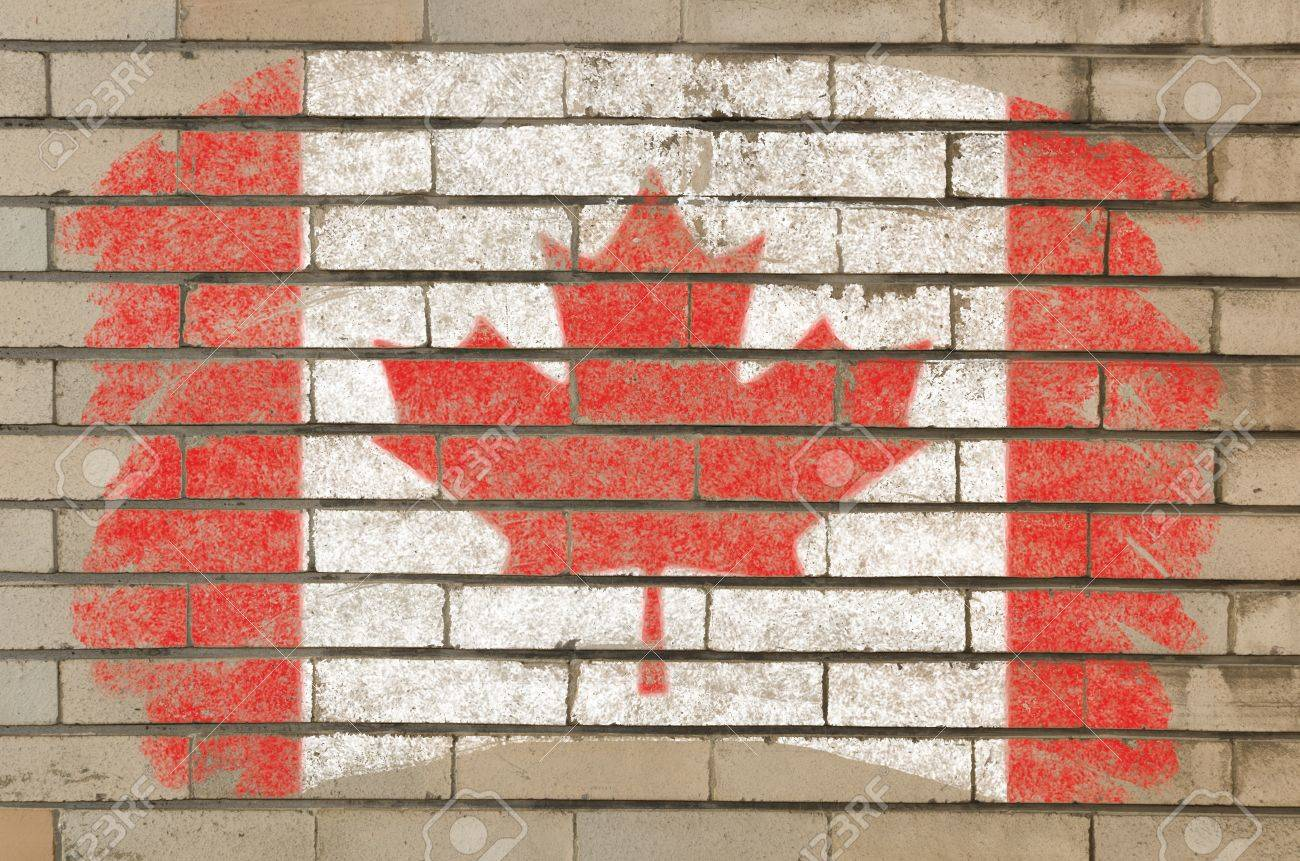 chalky canadian flag painted with color chalk on grunge old