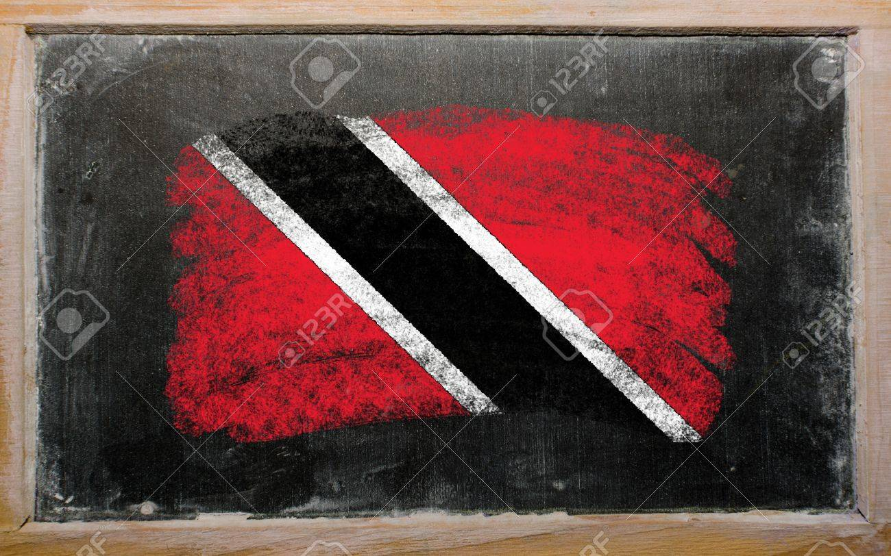 Chalky trinidad and tobago flag painted with color chalk on old blackboard Stock Photo - 10828820