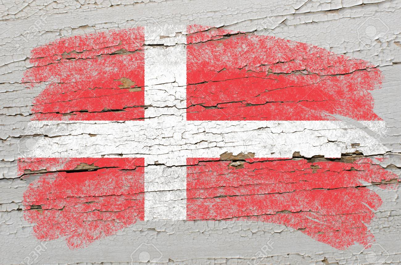 Chalky danish flag painted with color chalk on grunge wooden texture Stock Photo - 10828866