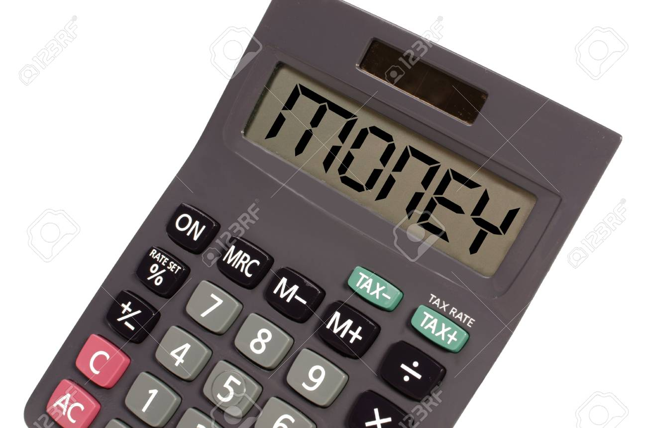 money written on display of an old calculator on white background in perspective Stock Photo - 11002142