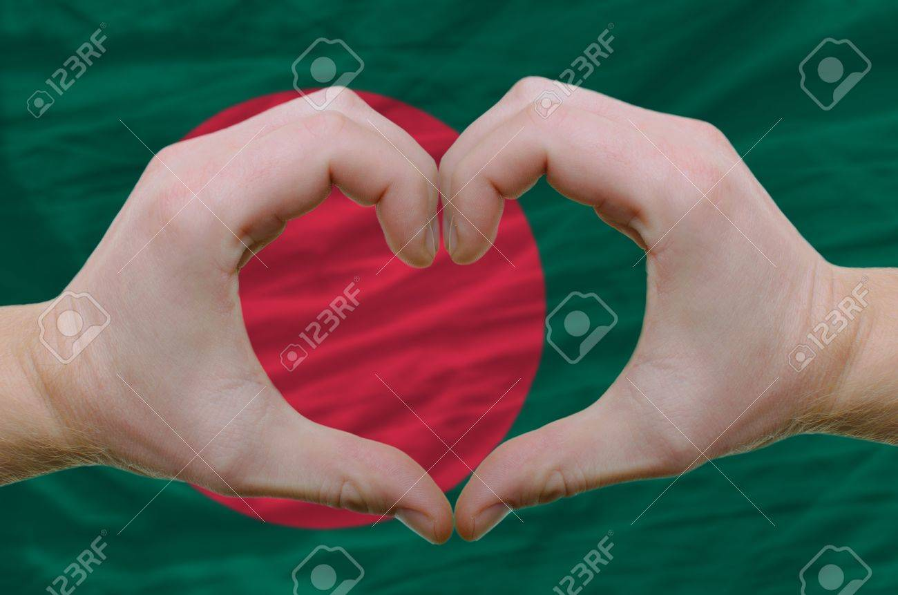 Gesture made by hands showing symbol of heart and love over bangladesh flag Stock Photo - 11002114
